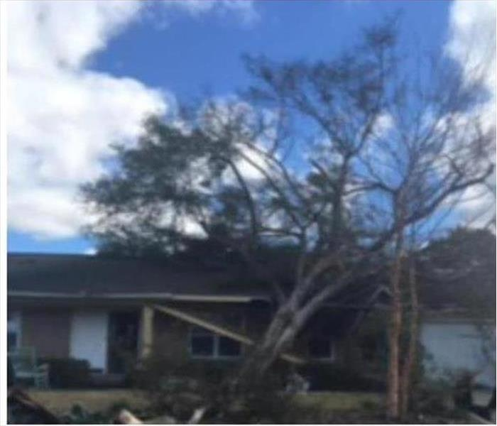 A home with trees down in the front from winds in a storm