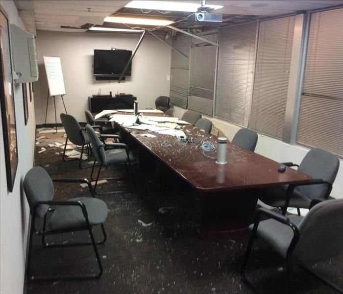 Commercial Burst ceiling sprinkler line floods tech building